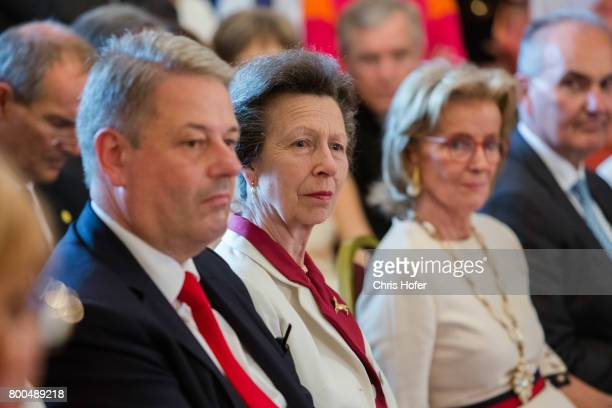 Minister of agriculture Andrae Rupprechter HRH Princess Anne and Elisabeth Guertler during the Award Ceremony for the 'Prix de l'Ecole d'Equitation...