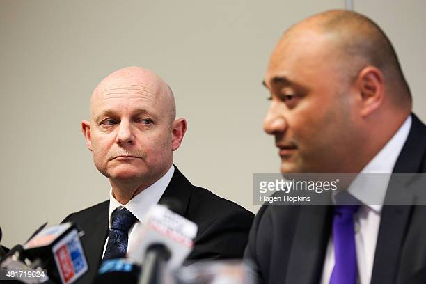 Minister of Corrections Peseta Sam LotuIiga speaks to media while Corrections Chief Executive Ray Smith looks on at the Beehive on July 24 2015 in...