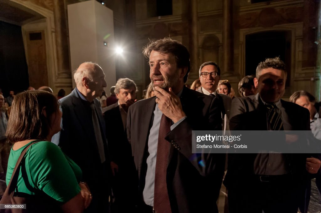 Minister of Cultural Heritage and Tourism Dario Franceschini during a press conference at Venice Palace where 'ArtCity' is presented, a project of cultural initiatives for the summer 2017 on May 19, 2017 in Rome, Italy. One hundred works of art, architecture, literature, music, theater, dance and audiovisual will include the exhibition at Vittoriano on Anna Magnani, the international exhibition on Giorgione at Palazzo Venezia and Castel Sant'Angelo, the translation and staging of Aristofane .