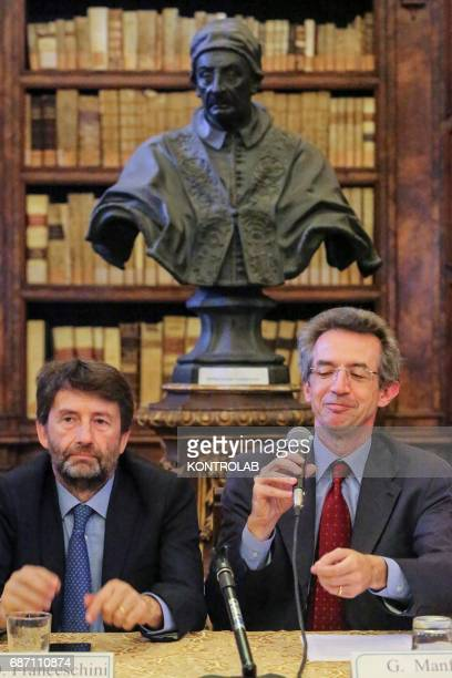 Minister of Cultural Heritage and Tourism Dario Franceschini during a press conference at the press conference to open the ancient library of the...