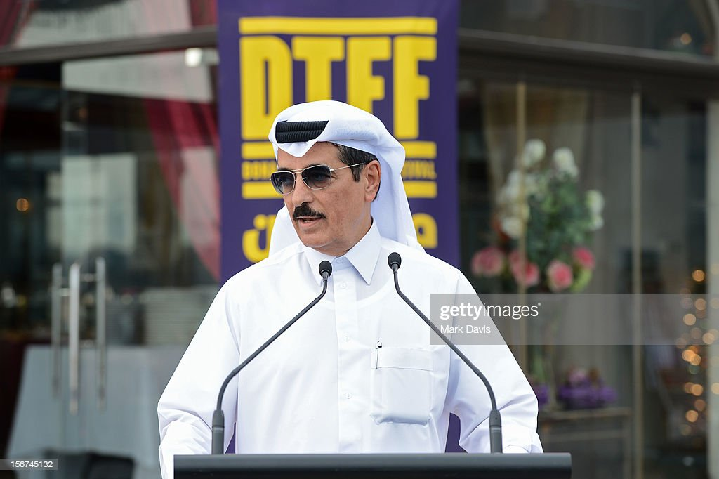 Minister of Culture, Arts and Heritage Dr. Hamad bin Abdulaziz Al-Kuwar at the Arab Guests Lunch during the 2012 Doha Tribeca Film Festival at the Al Mourjan Restaurant on November 20, 2012 in Doha, Qatar.
