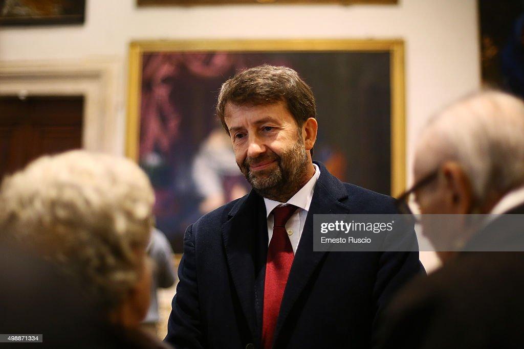 Minister of Culture <a gi-track='captionPersonalityLinkClicked' href=/galleries/search?phrase=Dario+Franceschini&family=editorial&specificpeople=4851356 ng-click='$event.stopPropagation()'>Dario Franceschini</a> attends the Vittorio De Sica 2015 Awards Ceremony at Palazzo Barberini on November 26, 2015 in Rome, Italy.