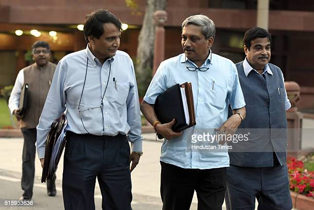 Minister of Defence Manohar Parrikar Union Railway Minister Suresh Prabhu Minister of Road Transport and Highways Nitin Gadkari during the Parliament...