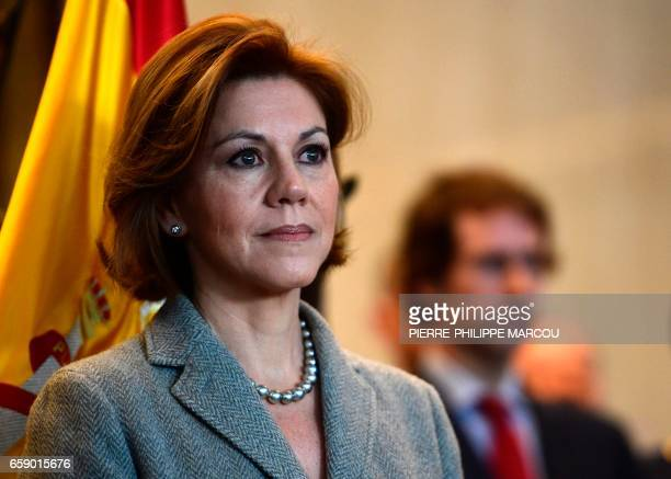 Minister of Defence Maria Dolores de Cospedal looks on during the swearingin ceremony of Spain's new chief of defence in Madrid on March 28 2017 /...