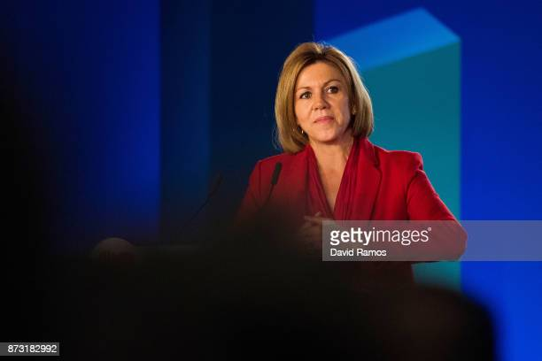 Minister of Defence Maria Dolores de Cospedal speaks during a PPC rally on November 12 2017 in Barcelona Spain Spain's Prime Minister Mariano Rajoy...