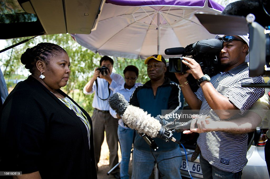 Minister of Defence Nosiviwe Mapisa-Nqakula at the press conference, addressing the media about Former President Nelson Mandela being admitted to the One Military Hospital over the weekend, on December 10, 2012 is in Pretoria, South Africa. The statement issued to the media is that Mandela has been admitted for a routine check-up.