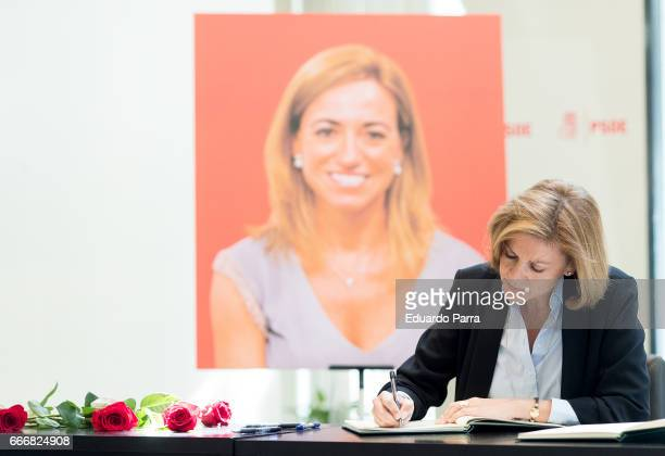 Minister of Defense Maria Dolores de Cospedal attends the Funeral Chapel for socialist politician Carme Chacon at PSOE headquarters on April 10 2017...