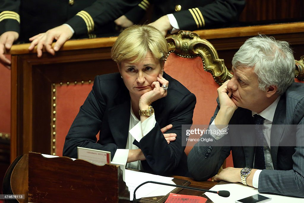 Minister of Economic Development Federica Guidi and Minister of Environment Gianluca Galletti attends a debate ahead of a confidence vote on the...