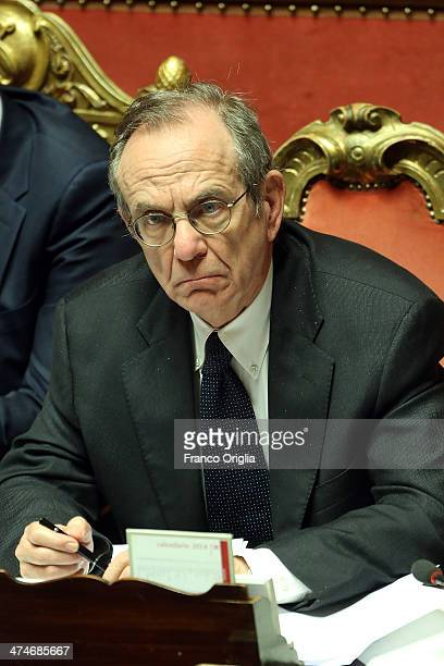 Minister of Economy and Finance Pier Carlo Padoan attends a debate ahead of a confidence vote on the coalition government of Prime Minister Matteo...