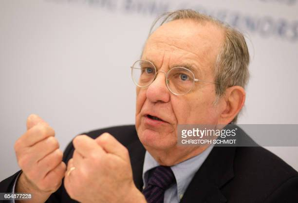 Minister of Economy and Finances of Italy Pier Carlo Padoan attends a press conference during the G20 Finance Ministers and Central Bank Governors...
