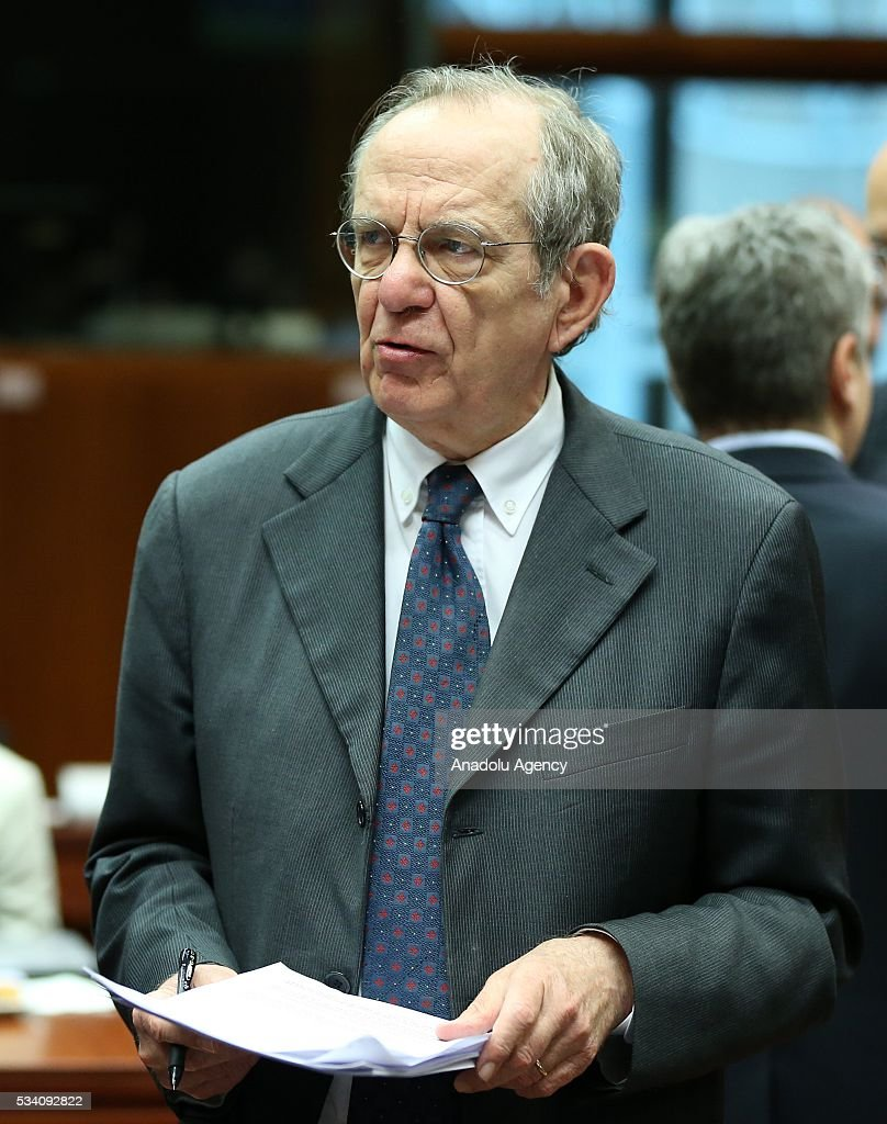 Minister of Economy and Finances of Italy, Pietro Carlo Padoan attends EU economic and financial council meeting, in Brussels, Belgium on May 25, 2016.