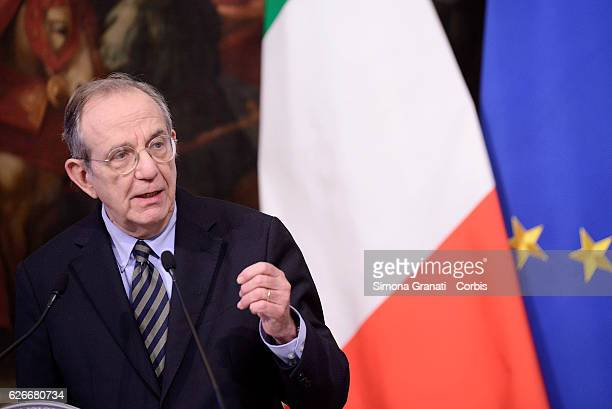 Minister of Economy and Finances Pier Carlo Padoan speaks during the Budget Law Press Conference on November 28 2016 in Rome Italy