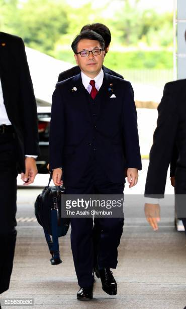Minister of Economy Trade and Industry Hiroshige Seko is seen on arrival at the prime minister's official residence on August 3 2017 in Tokyo Japan...