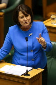 Minister of Education and Pacific Island Affairs Hekia Parata addresses the house during question time at Parliament on March 19 2014 in Wellington...