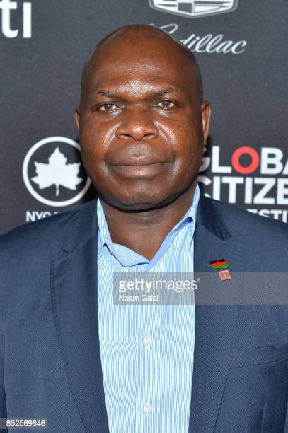 Minister of Education Science and Technology of Malawi Emmanuel Fabiano poses in the VIP Lounge during the 2017 Global Citizen Festival in Central...