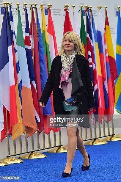 UK Minister of Employment Esther McVey arrives to attend an European Union extraordinary summit 'Growth and Employment' on October 8 2014 in Milan...
