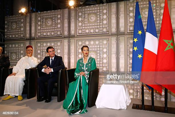 Minister of Endowments and Islamic Affairs of Morocco Ahmed Toufiq French Prime Minister Manuel Valls and HRH The Princess Lalla Meryem of Morocco...