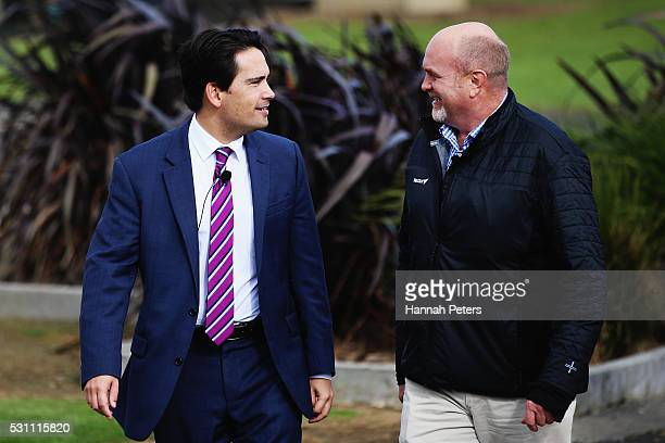 Minister of Energy and Resources Simon Bridges and Vector Energy Group Chief Executive Simon Mackenzie arrive during the launch the Tesla Powerwall...