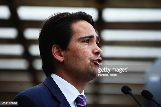 Minister of Energy and Resources Simon Bridges launches the Tesla Powerwall battery at Rongomai School on May 13 2016 in Auckland New Zealand The...