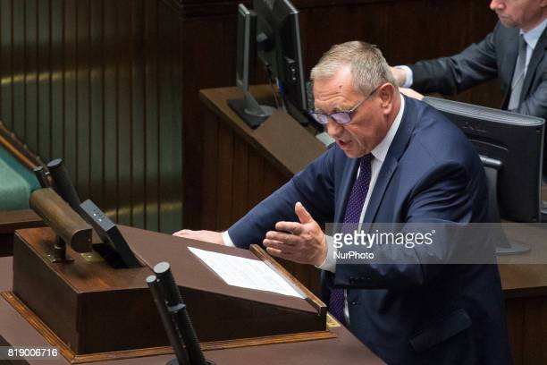 Minister of Environment Jan Szyszko during a night debate on a Supreme Court bill in the lower house of Polish Parliament in Warsaw Poland on 18 July...