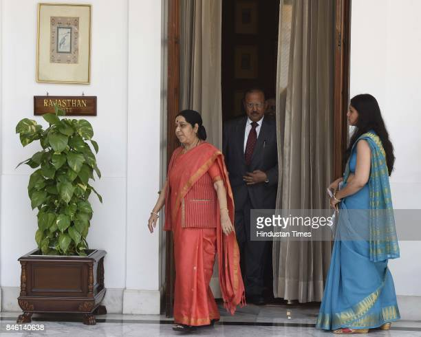 Minister of External Affairs of India Sushma Swaraj and National Security Advisor Ajit Doval arrive for attending the delegation level talks with...