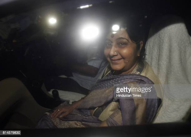 Minister of External Affairs Sushma Swaraj after attending the all party meeting at Union Home Minister Rajnath Singh's residence on July 14 2017 in...