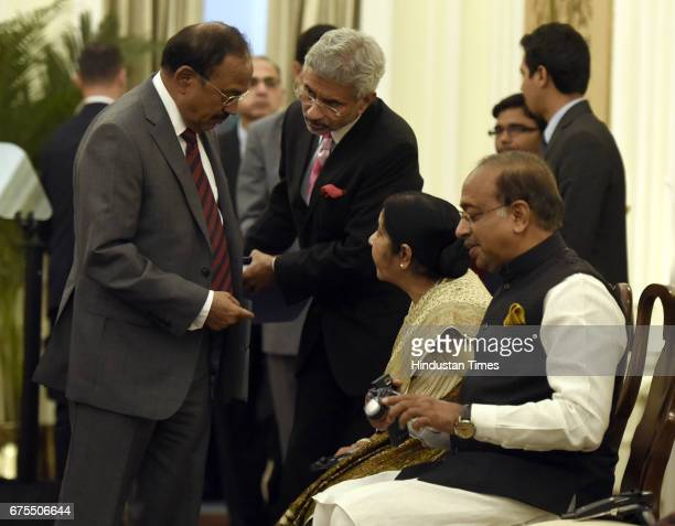 Minister of External Affairs Sushma Swaraj talking to National Security Adviser Ajit Doval and Dr S Jaishankar Foreign Secretary during an exchange...