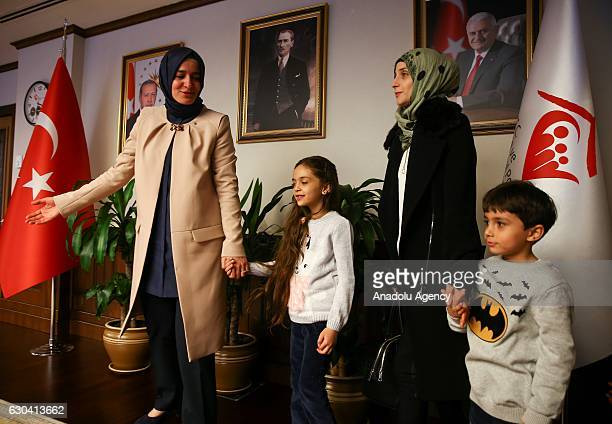 Minister of Family and Social Policy Fatma Betul Sayan Kaya meets with Syrian Bana Alabed sevenyearold girl who tweeted on attacks from Aleppo and...