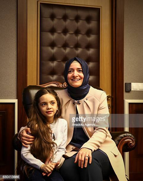 Minister of Family and Social Policy Fatma Betul Sayan Kaya meets with Syrian Bana Alabed sevenyearold girl who tweeted on attacks from Aleppo in...