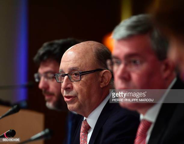 Minister of Finance and Public Services Cristobal Montoro gives a press conference to inform about 2016 budget in Madrid on March 30 2017 / AFP PHOTO...