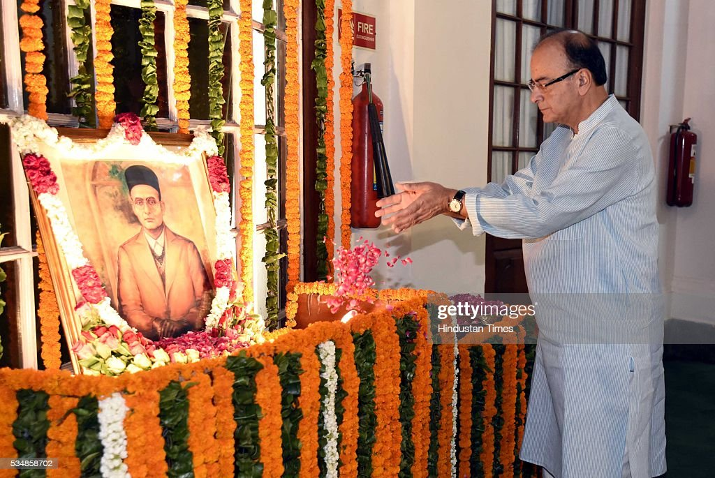 Minister of Finance Arun Jaitley paying tribute to right-wing ideologue Veer Savarkar on his 133 birth anniversary, at Central Hall of Parliament House, on May 28, 2016 in New Delhi, India. Born on May 28, 1883 in Nashik in Maharashtra, Vinayak Damodar Savarkar, later known as Swatantraveer Savarkar, was a revolutionary and Hindu nationalist who was imprisoned by the British in the Cellular Jail in Andaman and Nicobar Islands.