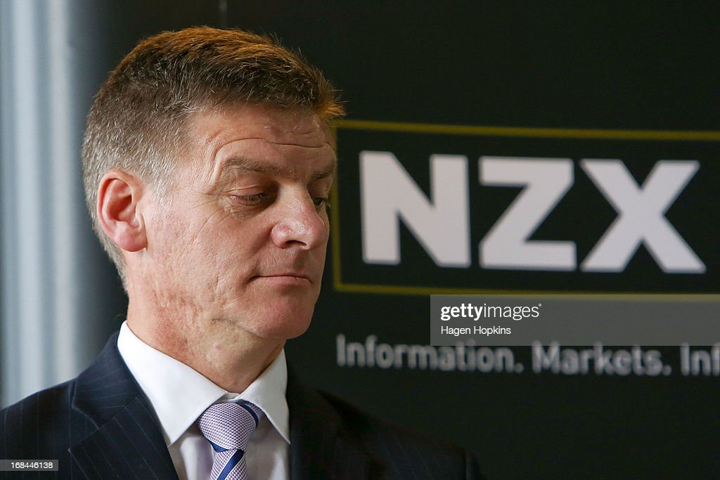 Minister of Finance, Bill English, looks on during the listing of Mighty River Power at NZX on May 10, 2013 in Wellington, New Zealand. Mighty River Power is one of several state owned enterprises being partially sold by the Government to raise capital.