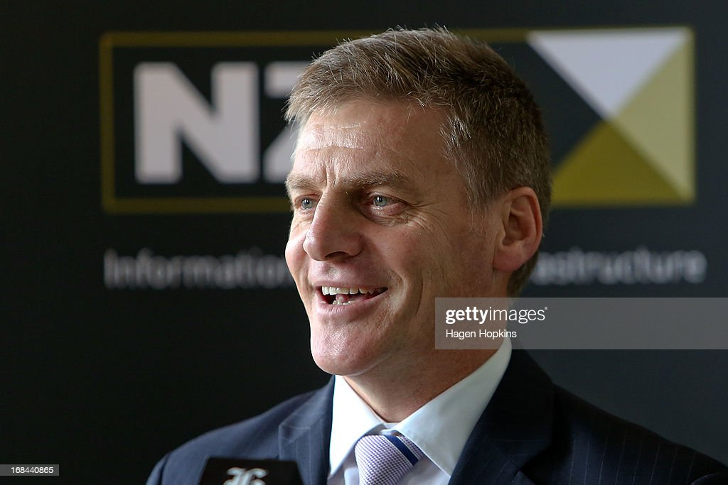 Minister of Finance, <a gi-track='captionPersonalityLinkClicked' href=/galleries/search?phrase=Bill+English&family=editorial&specificpeople=772458 ng-click='$event.stopPropagation()'>Bill English</a>, talks during the listing of Mighty River Power at NZX on May 10, 2013 in Wellington, New Zealand. Mighty River Power is one of several state owned enterprises being partially sold by the Government to raise capital.