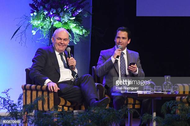 Minister of Finance Infrastructure Hon Steven Joyce and Minister of Economic Development Hon Simon Bridges on a panel discussion during the National...