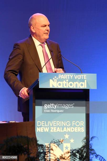 Minister of Finance Infrastructure Hon Steven Joyce speaking during the National Party 81st Annual Conference at Michael Fowler Centre on June 24...
