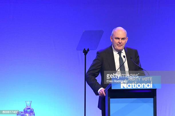 Minister of Finance Infrastructure Hon Steven Joyce speaking during the National Party 81st Annual Conference at Michael Fowler Centre on June 25...