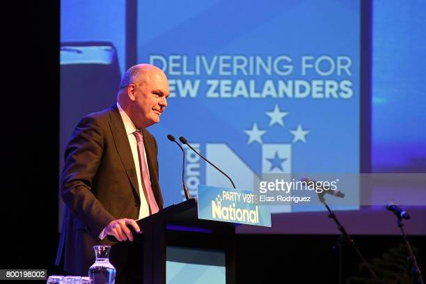 Minister of Finance Infrastructure Hon Steven Joyce speaks during the National Party 81st Annual Conference at Michael Fowler Centre on June 24 2017...