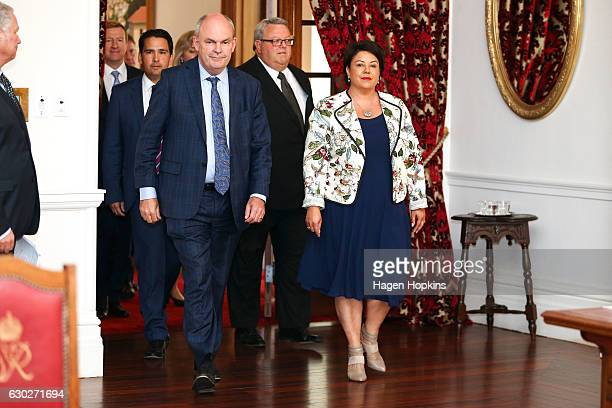 Minister of Finance Steven Joyce and Deputy Prime Minister Paula Bennett arrive during a ceremony at Government House on December 20 2016 in...