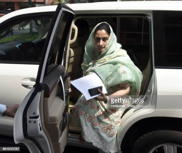 Minister of Food Processing Industries Harsimrat Kaur Badal arrives for attending the Parliament Budget Session on April 5 2017 in New Delhi India...