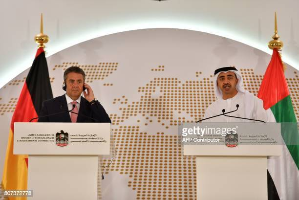 UAE Minister of Foreign Affairs and International Cooperation Abdullah bin Zayed AlNahyan gives a press conference with German Foreign Minister...