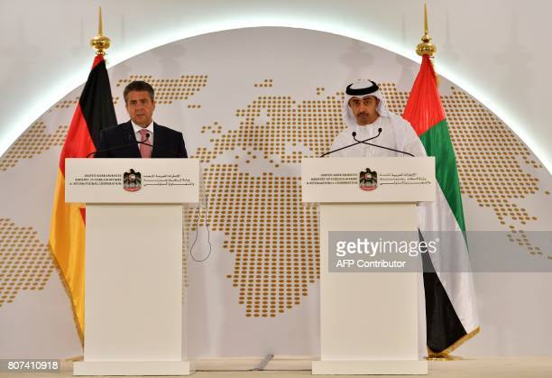 UAE Minister of Foreign Affairs and International Cooperation Abdullah bin Zayed AlNahyan and German Foreign Minister Sigmar Gabriel give a press...