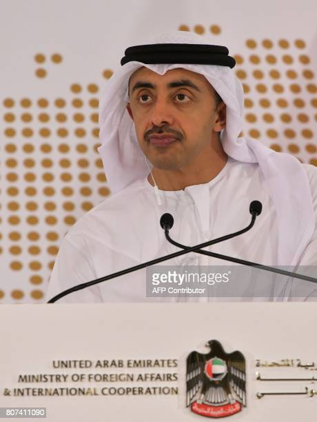 UAE Minister of Foreign Affairs and International Cooperation Abdullah bin Zayed AlNahyan gives a press conference with the German Foreign Minister...