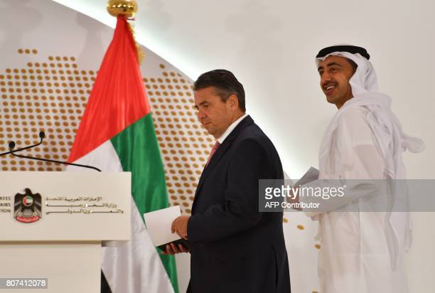 UAE Minister of Foreign Affairs and International Cooperation Abdullah bin Zayed AlNahyan and German Foreign Minister Sigmar Gabriel arrive for press...