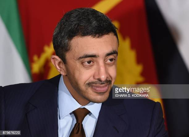 Minister of Foreign Affairs and International Cooperation of the United Arab Emirates Sheikh Abdullah bin Zayed bin Sultan al Nahyan looks on during...