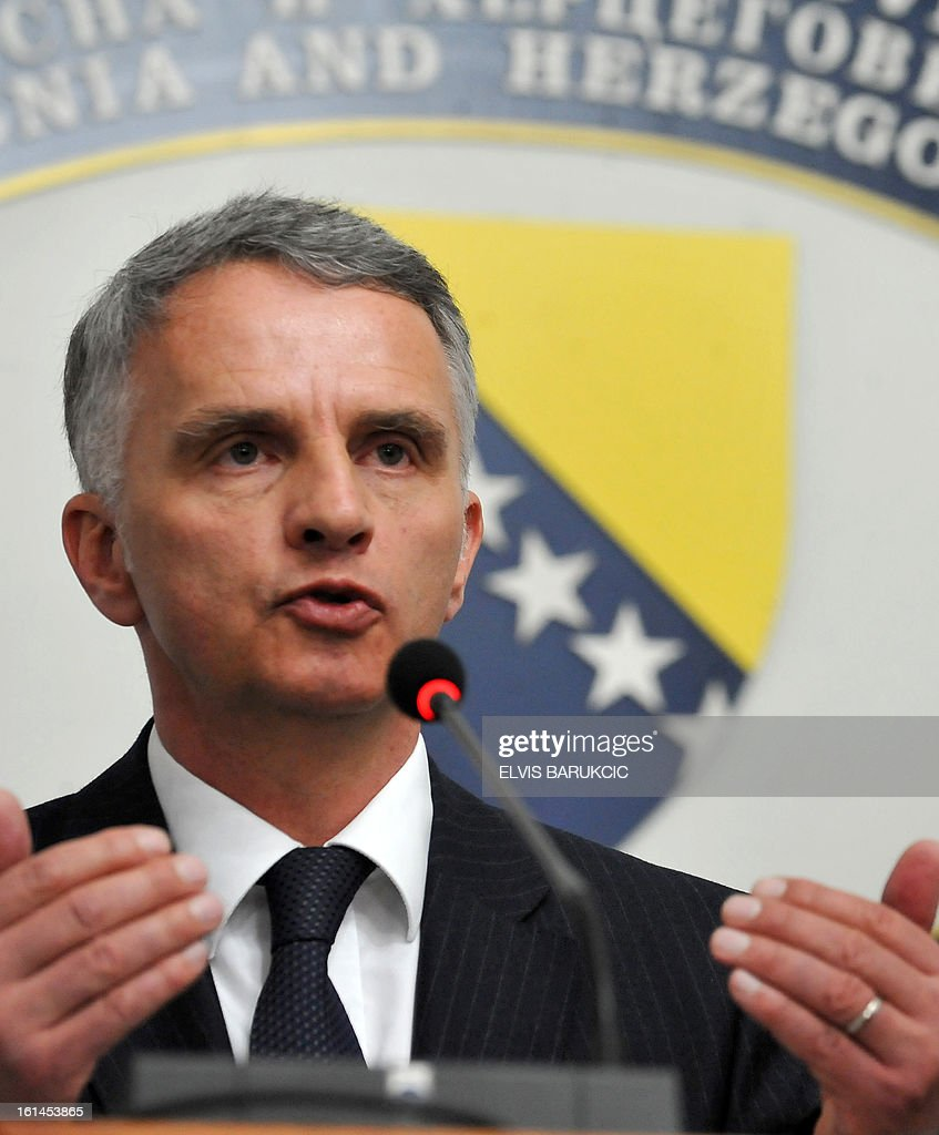 Minister of Foreign Affairs and Vice President of Swiss Federation Didier Burkhalter, answers journalists' questions following a bi-lateral meeting with his Bosnian counterpart, Zlatko Lagumdzija in Sarajevo, on February 11, 2013.