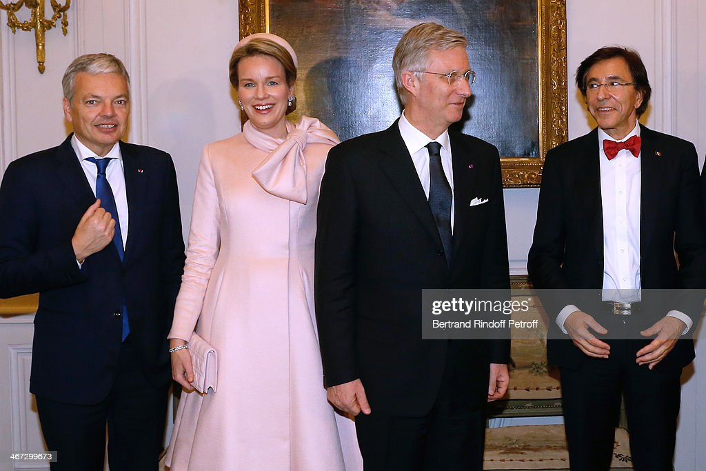 Minister of Foreign Affairs of Belgium <a gi-track='captionPersonalityLinkClicked' href=/galleries/search?phrase=Didier+Reynders&family=editorial&specificpeople=548982 ng-click='$event.stopPropagation()'>Didier Reynders</a>, Queen Mathilde Of Belgium, King <a gi-track='captionPersonalityLinkClicked' href=/galleries/search?phrase=Philippe+of+Belgium&family=editorial&specificpeople=160209 ng-click='$event.stopPropagation()'>Philippe of Belgium</a> and Prime Minister of Belgium <a gi-track='captionPersonalityLinkClicked' href=/galleries/search?phrase=Elio+Di+Rupo&family=editorial&specificpeople=743705 ng-click='$event.stopPropagation()'>Elio Di Rupo</a> attend the visit to the Residence of the Ambassador of Belgium during a One Day Official Visit on February 6, 2014 in Paris, France.