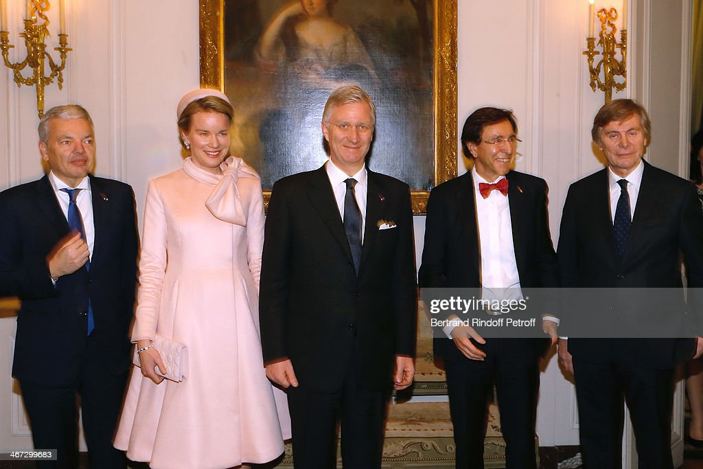 Minister of Foreign Affairs of Belgium <a gi-track='captionPersonalityLinkClicked' href=/galleries/search?phrase=Didier+Reynders&family=editorial&specificpeople=548982 ng-click='$event.stopPropagation()'>Didier Reynders</a>, Queen Mathilde Of Belgium, King Philippe of Belgium, Prime Minister of Belgium <a gi-track='captionPersonalityLinkClicked' href=/galleries/search?phrase=Elio+Di+Rupo&family=editorial&specificpeople=743705 ng-click='$event.stopPropagation()'>Elio Di Rupo</a> and Ambassador of Belgium Patrick Vercauteren Drubbel attend the visit to the Residence of the Ambassador of Belgium during a One Day Official Visit on February 6, 2014 in Paris, France.