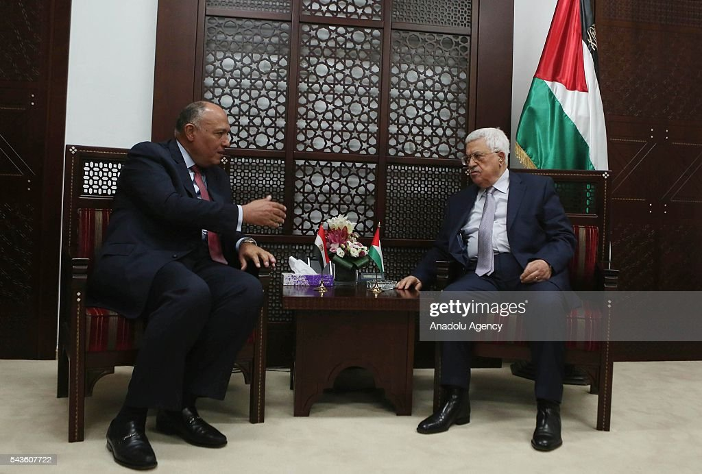 Minister of Foreign Affairs of Egypt, Sameh Hassan Shoukry (L) meets with Palestinian President Mahmoud Abbas (R) during his official visit to Ramallah, West Bank on June 29, 2016.