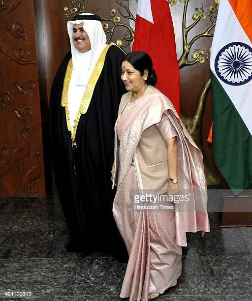 Minister of Foreign Affairs of Kingdom of Bahrain Sheikh Khalid bin Ahmed bin Mohammed Al Khalifa with Minister of External Affairs Sushma Swaraj...