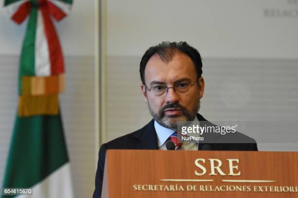 Minister of Foreign Affairs of Mexico Luis Videgaray is seen during a press conference at building of Ministry of Foreign Affairs on March 17 2017 in...